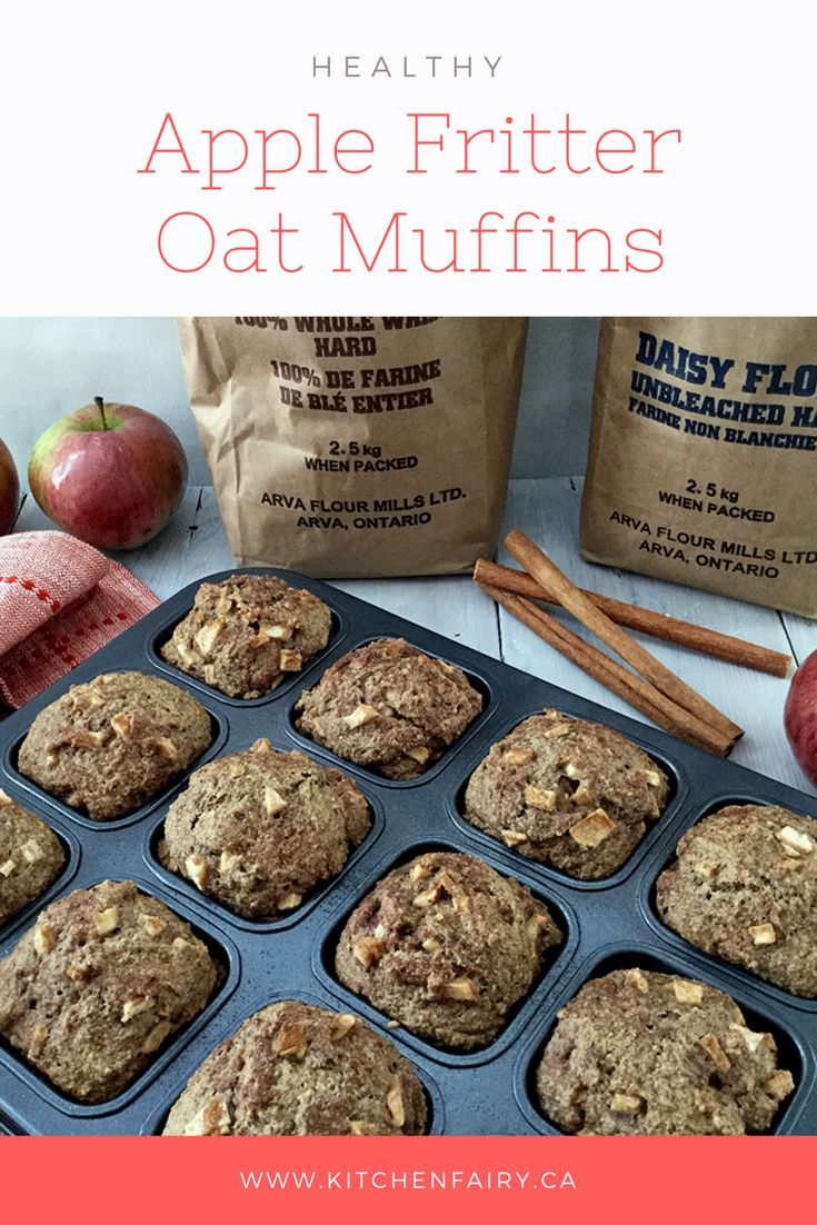 A healthy take on the iconic Canadian apple fritter treat. Instead of being fried and laden with extra fat and calories, these Apple Fritter Oat Muffins are full of good-for-you ingredients and the same warm apple-cinnamon flavour everyone loves. Made with Arva Flour Mills flour - all natural, with no preservatives or chemicals added,  non-GMO locally-sourced grain.