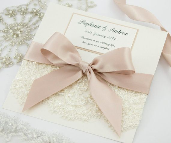 Lace Wedding Invitation by TheBoutiquePaperCo on Etsy