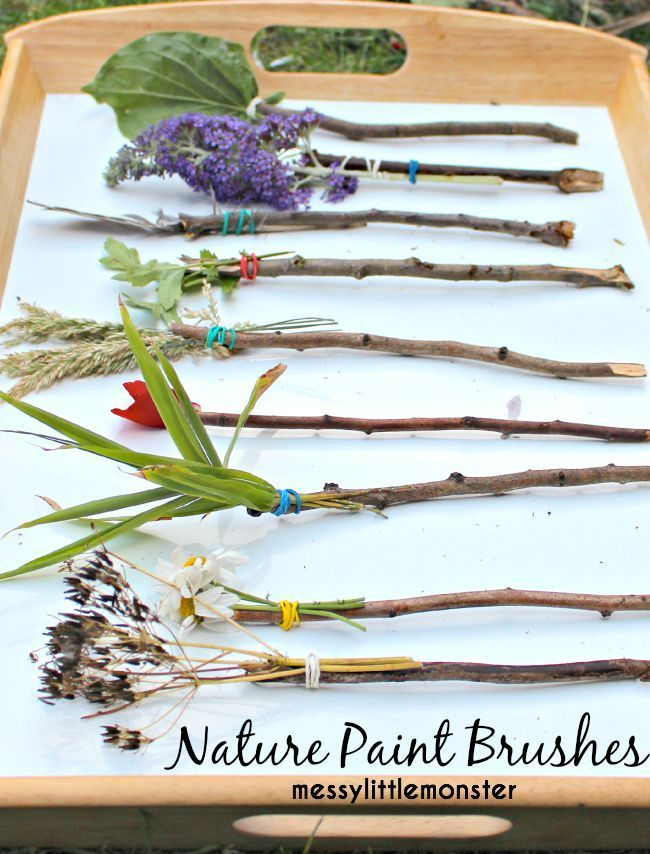 How to make and paint with nature paint brushes. A simple outdoor spring/ summer activity for toddlers, preschoolers, eyfs and older kids. Fun process art. Stick craft.