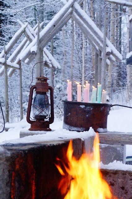 Ripaus unelmaa Puttipajalta  #puttipaja #kynttilä #kotimainenkynttilä #kruunukynttilä #tunnelma #talviretki #yksityiskohtia #nuotio
