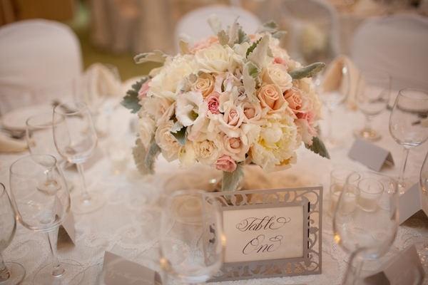 wedding flowers peach blush cream silver