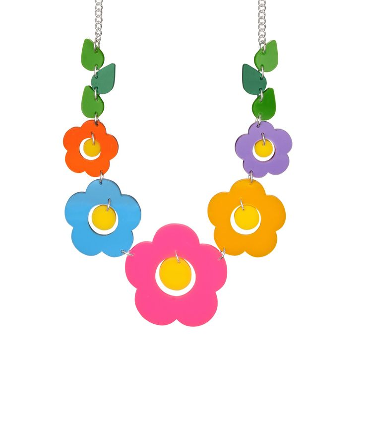 Posy Large Necklace, Brights - Celebrate the arrival of spring with the Posy Large Necklace. Inspired by 70's floral patterns, bold blooms are laser cut in a groovy, colour pop palette that will brighten up your look in an instant. Pair with a patterned dress for a total flower power look.