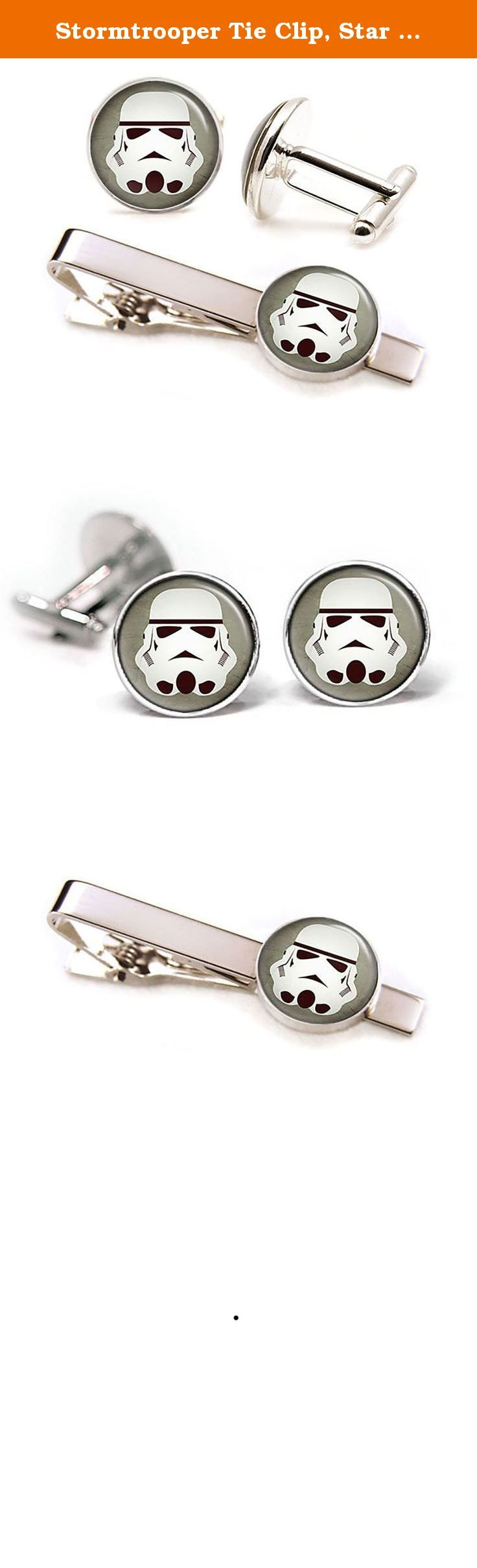"""Stormtrooper Tie Clip, Star Wars Cufflinks, Stormtroopers Jewelry, Jedi Cuff Links, Darth Vadar, Death Star, Star Wars Wedding Party Gifts, Groomsmen Gift. -10% Off- purchases of two or more items from my amazon shop. For more cufflinks and tie clips check out my other listings by clicking the """"SharedImagination"""" link at the top of the listing above the product title. These cufflinks and tie clip feature a high quality image underneath glass. The glass gives the image a great shine and..."""