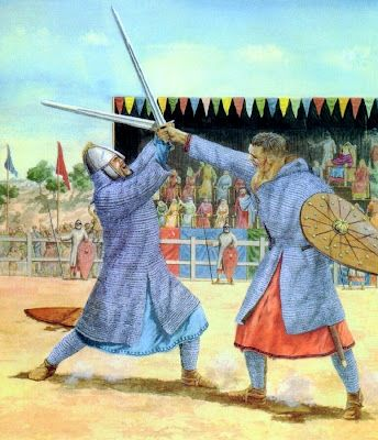 El Cid Campeador (left) in single combat.