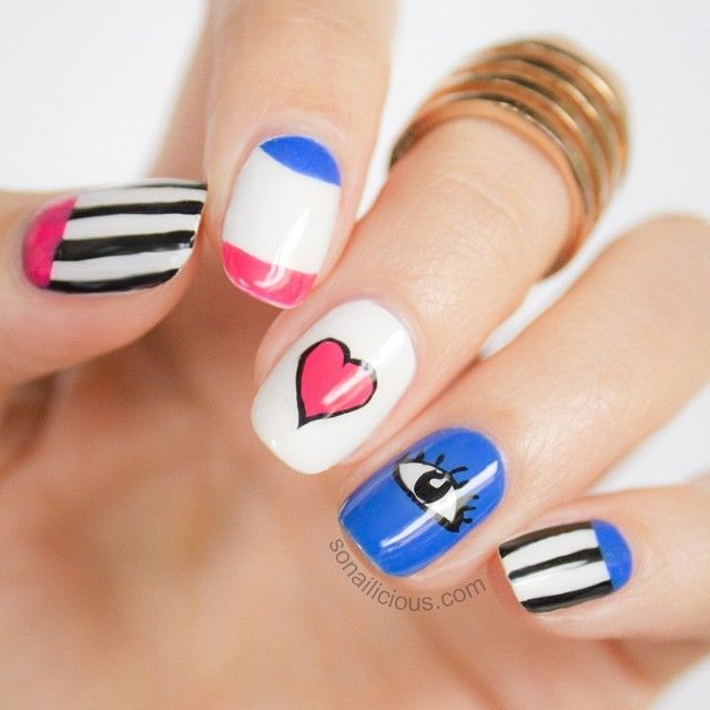 Want to learn how to do these 'Funky Love' nails? Head to #SoNailicious.com (link in profile)  #nailart #tutorial