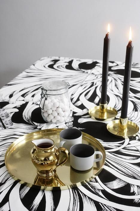 Vallila's Black and White Lempi fabric used as a stunning table cloth.