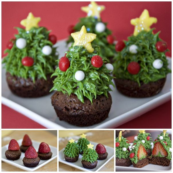 How beautiful are these Strawberry Christmas Tree Brownie ! These don't need much skill so please give them a try ! :)  Check recipe--> http://wonderfuldiy.com/wonderful-diy-strawberry-christmas-tree-brownie/
