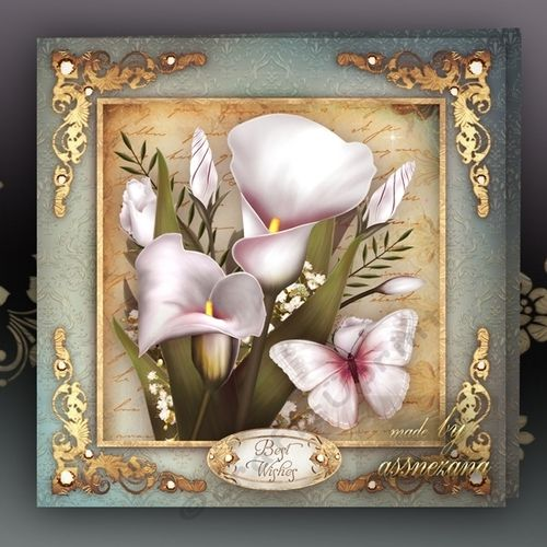 Vintage White Callas for All Occasions Card Mini Kit: 4 sheets for print with decoupage for 3D effect plus few sentiment tags (for your own personal text)