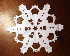 how to make a snowflake with a cutout snowman - Google Search