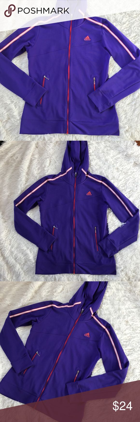 Adidas ClimaLite Purple Zip Up Hoodie Adidas ClimaLite Purple Zip Up Hoodie. Advertised for golf but can be used for everyday use too. In excellent pre owned condition. Beautiful colors! Size S. Offers welcome! Bundle up! adidas Tops Sweatshirts & Hoodies