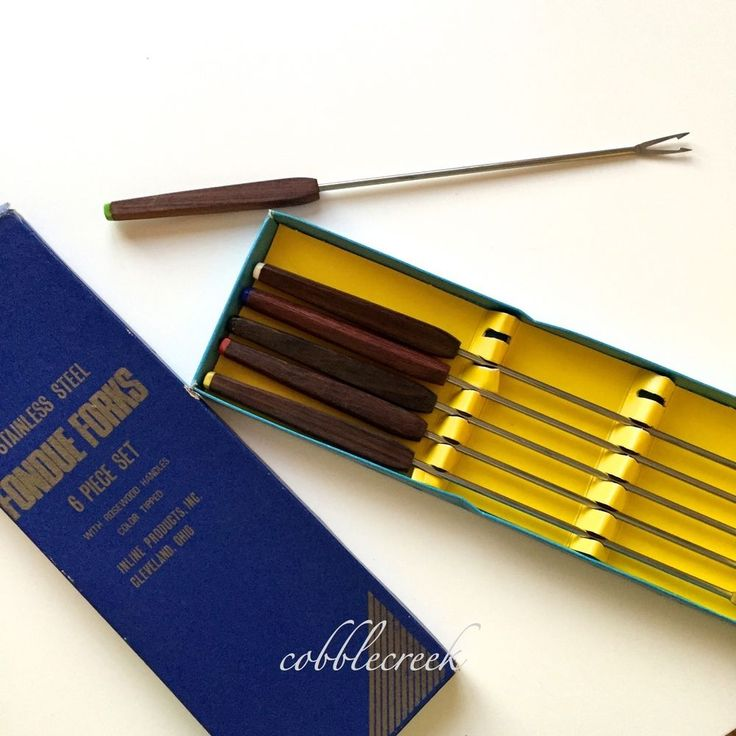 #Fondue #Forks Mid-Century Boxed Set Stainless #Rosewood Handles Color Tips #MCM #InlineProducts #cleveland #oh #midcentury