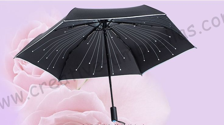 2pc/lot Auto open auto close 5 times black coating anti-UV blue crystal stone umbrella fireworks musical note reflective parasol