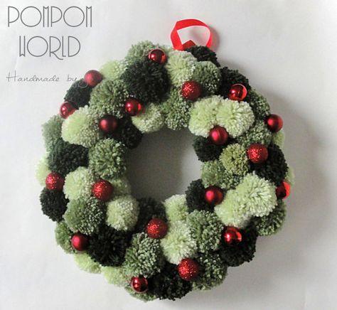 Pompon Handmade di Natale ghirlanda di Pom Pom di PomPomMyWorld