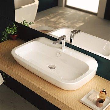 Håndvask Nauha 80 i hvid porcelæn i minimalistisk stil. Made in Italy