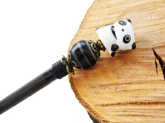 Wooden japanese hair stick and little panda ceramic bead with lampwork bead - black and white - kanzashi hairpin pin chopstick ornament