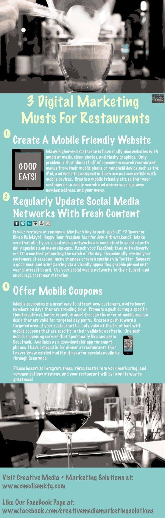 3 Digital Marketing Musts For Marketing Savvy Restaurants
