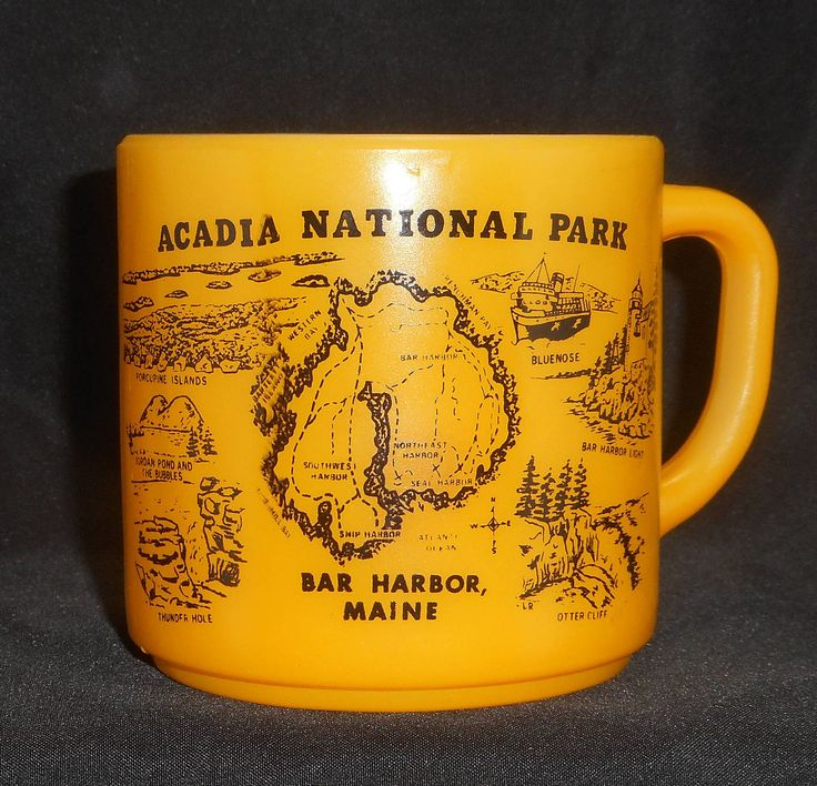 Federal Glass Acadia National Park Maine Yellow Cup Mug by ColectbleKtchns on Etsy