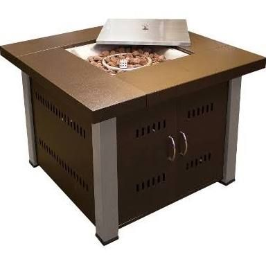 """38"""" Square Propane Fire Pit - Antique Bronze / Stainless Steel"""