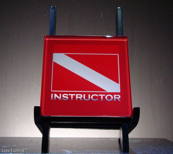 INSTRUCTOR Scuba Dive Flag Etched Glass Red Wall Tile Sign