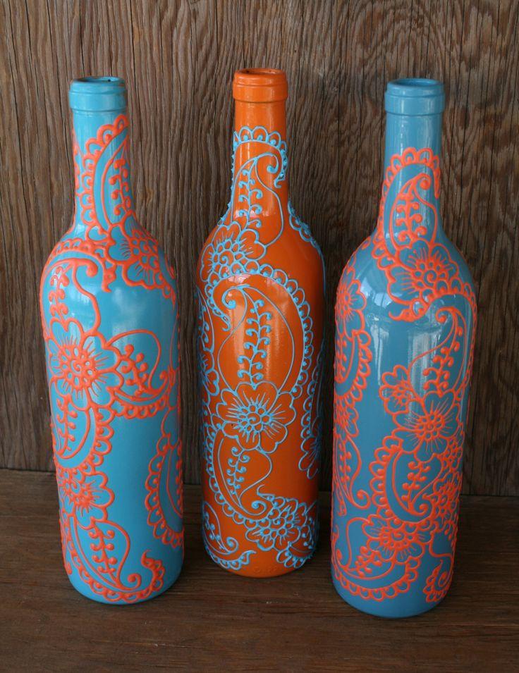 Set de 3 botellas de vino pintado a mano jarrones turquesa y