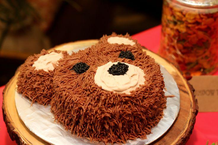 First Birthday. Camping Theme. Smash Cake. Bear.