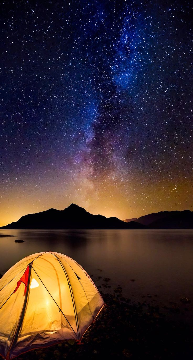 camping under starry sky and enjoy moment of silence