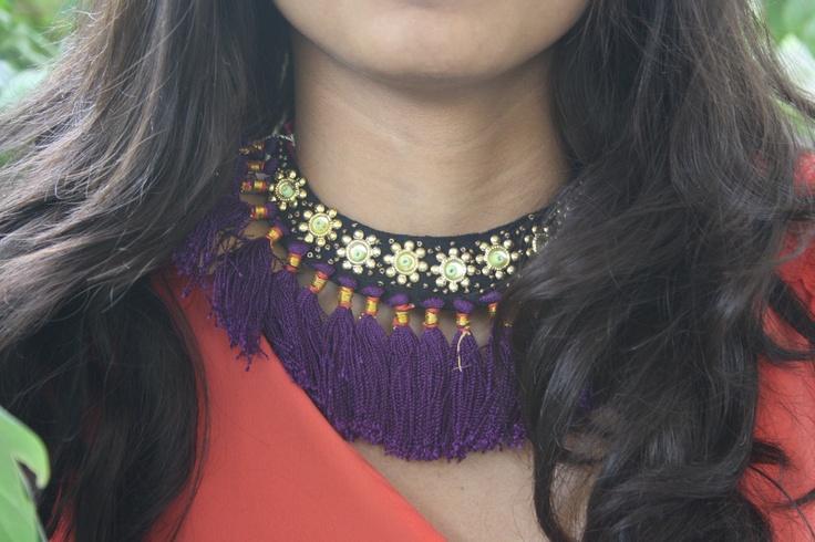Purple tribal necklace