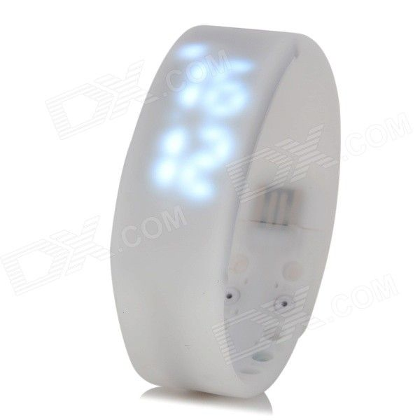 W2 USB LED Smart Wrist Band w/ Time / Calorie / 3D Pedometer / Temperature / Sleep Monitor - White