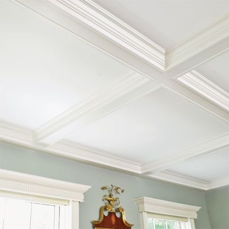 This family room coffered ceiling was made with a gridwork of poplar 1x6s trimmed with built-up crown molding. | Photo: Wendell T. Webber | thisoldhouse.com