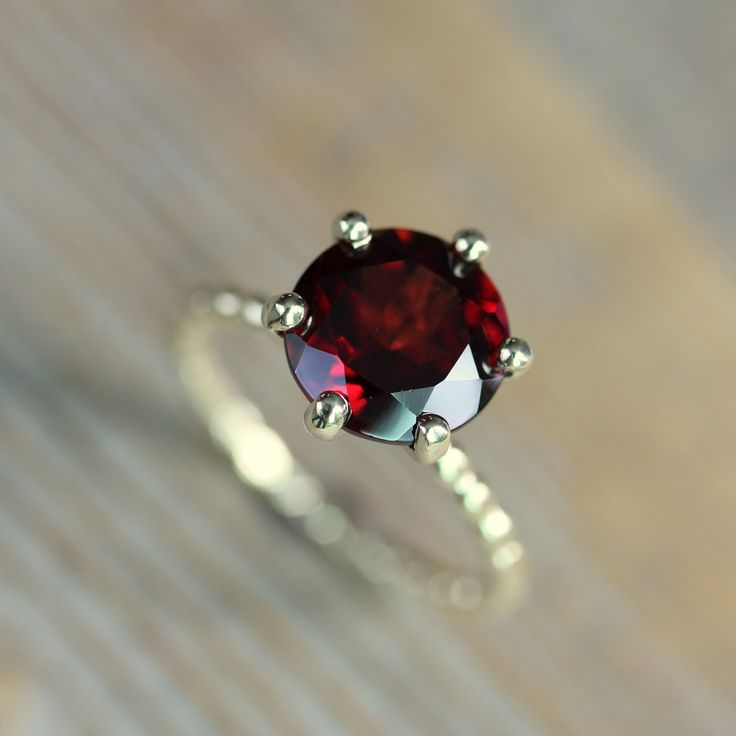 Crimson Red Garnet RIng and Recycled Gold Ring,  Six Prong Solitaire Ring in 14k Yellow Gold, Art Deco. $698.00, via Etsy.