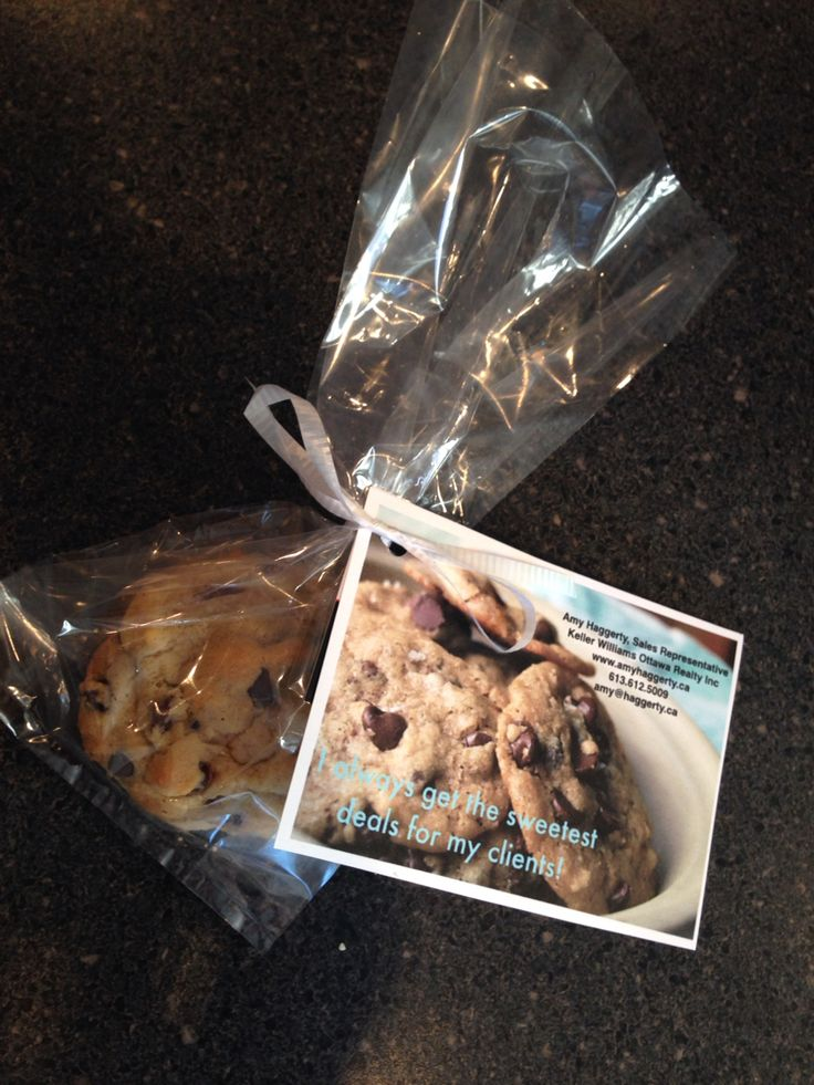 """A business card pop by idea that I made for a networking meeting I attended recently.  The card says """"I always get the sweetest deals for my clients!"""".  The cookies were a hit!"""