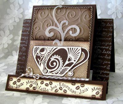 Coffee Card  Love the texture mix of this, esp the vellum steam.  could change colors and do for tea