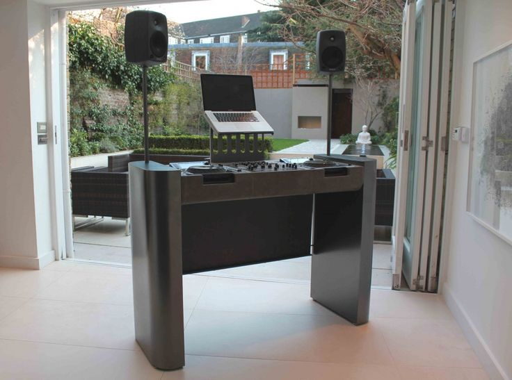 Gun Metal Dj Booth upholstered in anthracite leather with removable lid. Designed by Ben Rousseau. Made by Rousseau Design