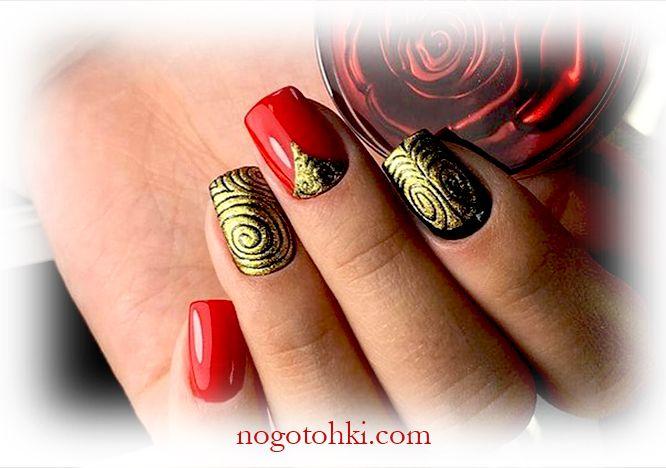 красный с золотом дизайн ногтей лаком фото 7