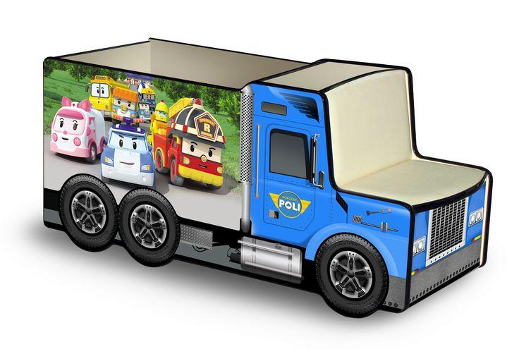 Грузовичок для игрушек Поли Робокар. Мягкое сидение и спинка, есть колесики. А если добавить столик, то целое рабочее место!  ЛДСП + мебельный кант + фотопечать + ламинация (цвета можно менять) Отличный ящик для хранения игрушек или инструментов ребенка.