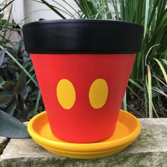 Mickey Mouse inspired flower pot by FlourishAndPots on Etsy