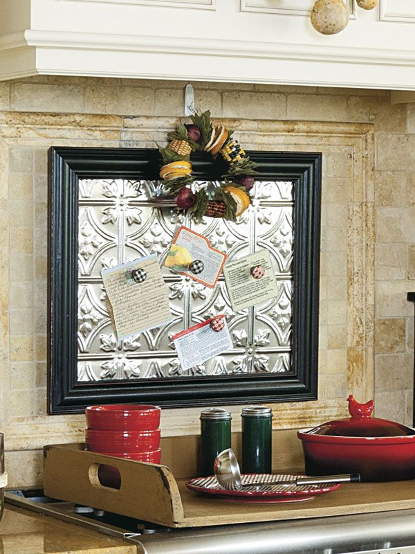 Cut a piece of ceiling tin to fit inside a frame, mount it in the kitchen, and attach recipes with magnets. • To see more of this photo and find out more about the items shown, turn to page 80 of our September 2014 issue or page 13 of our online Craft Fair, http://www.countrysampler.com/craftfair/flipbook.php?issue_code=C0914 • Buy the issue: http://www.samplermagazines.com/August_September_2014_Country_Sampler_p/c914b001a.htm