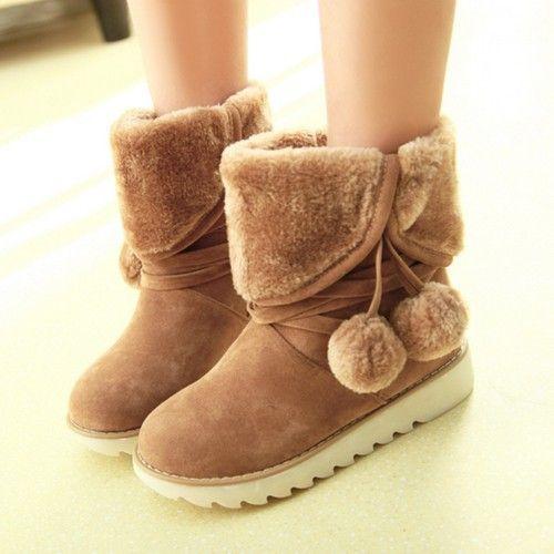 Japanese Dolls Snow Boots Women Plus Size Winter Shoes Woman Botas Rhinestone Fur Boots Flat Australia Boots Womens Furry Boots