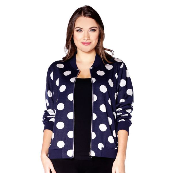 Refresh any outfit with this lightweight bomber jacket, featuring a chic polka-dot pattern. Pair with any bottoms to update your look!  Content: 39% Rayon, 58% Polyester, 3% Spandex  Fit: Relaxed