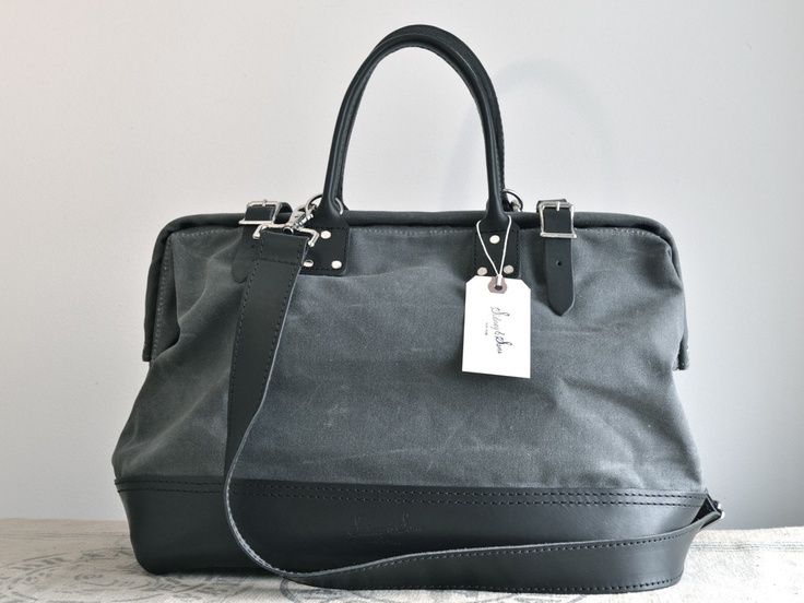 Tommy charcoal gray waxed canvas and black leather bag