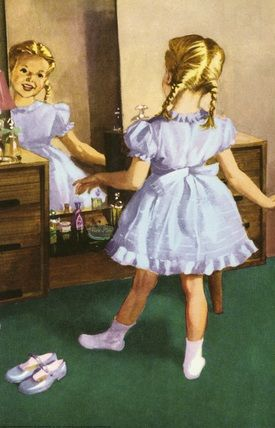 Susan puts on her blue dress - The Party - LadyBird Books 1960