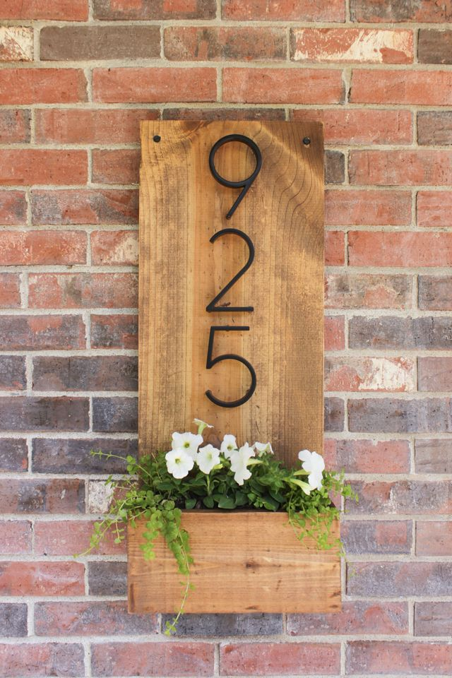 Wooden Planter House Number