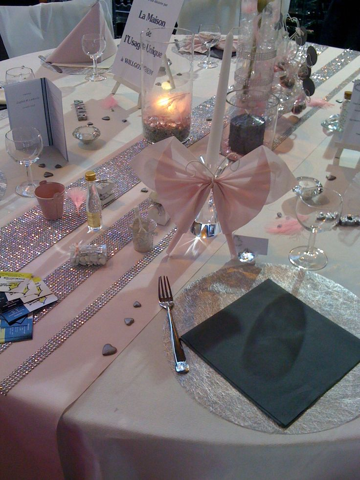 Idee d co de table gris et vieux rose mariage for Decoration de table