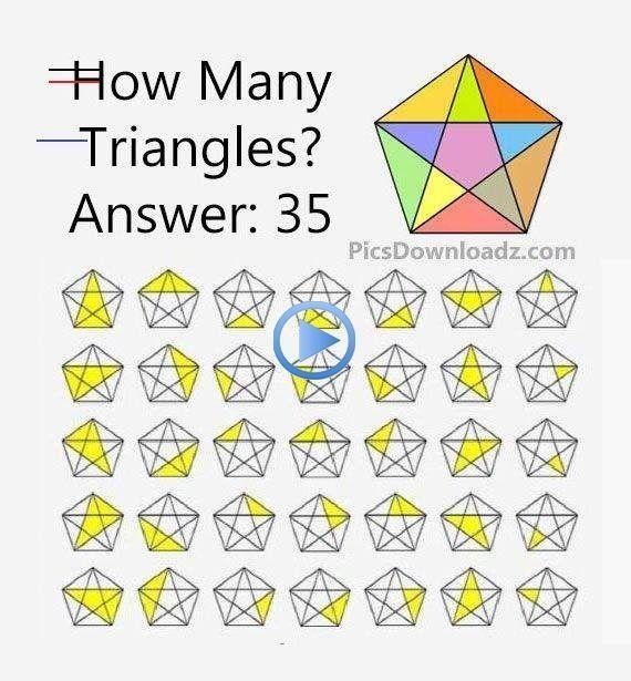 Cuántos Triángulos Hay Rompecabezas Matemáticos Con Respuesta Cuántos Triángulos Son Maths Puzzles Math Puzzles Brain Teasers Math Riddles Brain Teasers