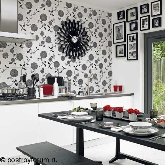 черно белые кухни