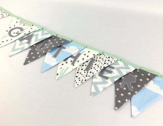 Garland flags name Gauthier Mint green grey blue cactus stars banner