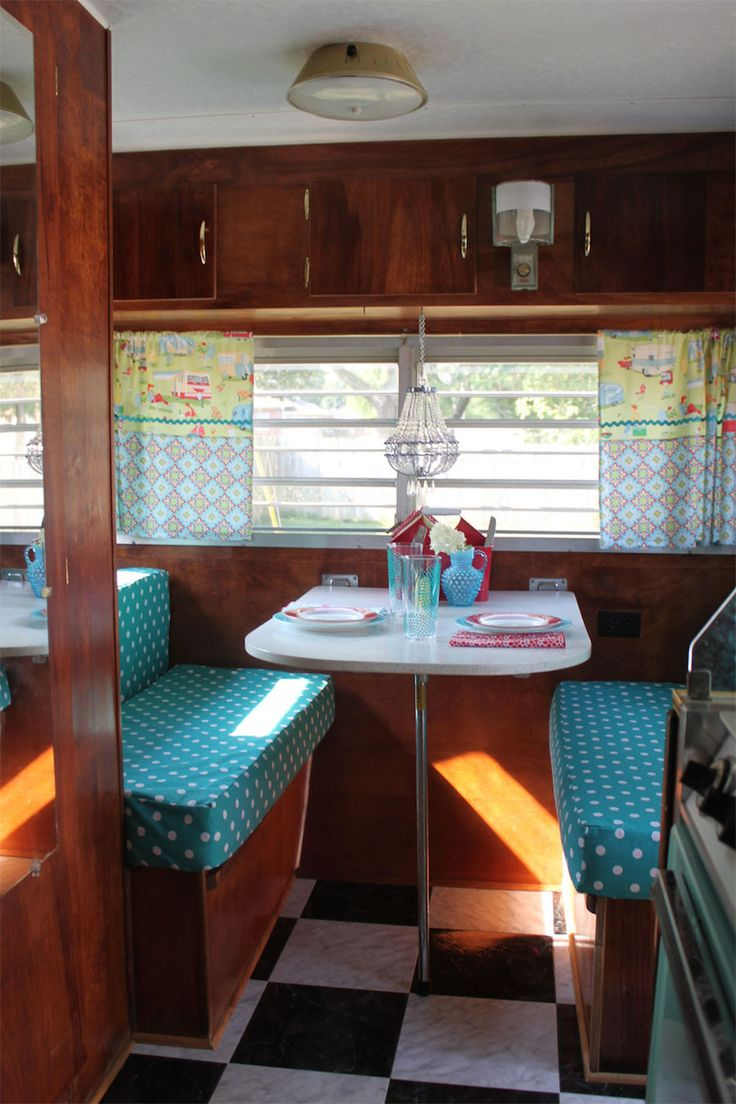 1967 yellowstone camper remodel by homemaderenata like the polka dot covers