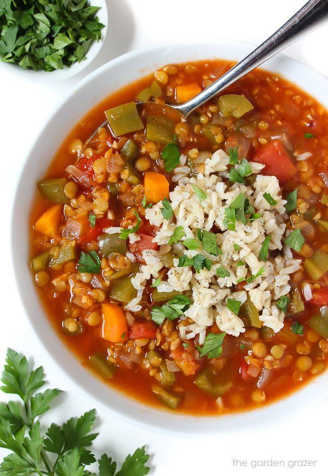 Lentil Stuffed Pepper Soup Vegan The Garden Grazer Recipe Stuffed Peppers Delicious Soup Whole Food Recipes