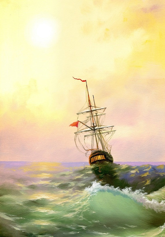 Print from Original Oil Painting titled Sailboat