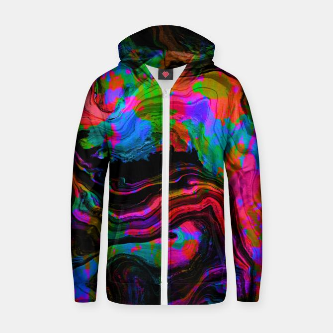 Painted Neon zipped hoodie by Fimbis   ________________________________ women, girls, boys, men, hoody, zip hoody, abstract, surreal, fluid art, fluid painting, neon, blue, green, pink, black, vibrant, bright, purple, violet, orange, photoshop, fashion, fashionistas, fashionista, on trend,